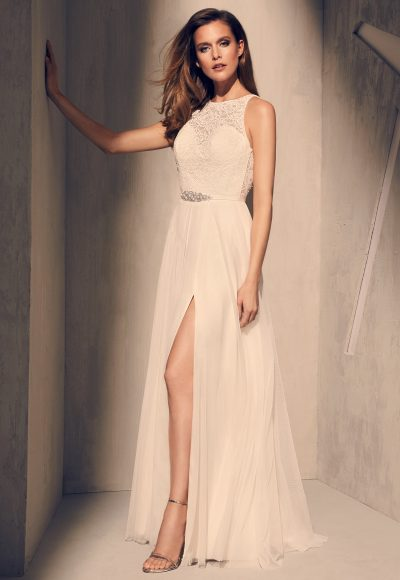 Illusion Lace Sweetheart Neckline Beaded Belt A-line Wedding Dress by Mikaella