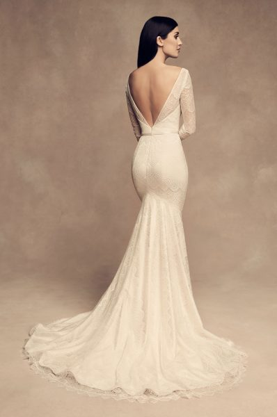 Long Sleeve Chantilly Lace Fit And Flare Wedding Dress by Paloma Blanca - Image 2