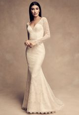 Long Sleeve Chantilly Lace Fit And Flare Wedding Dress by Paloma Blanca - Image 1