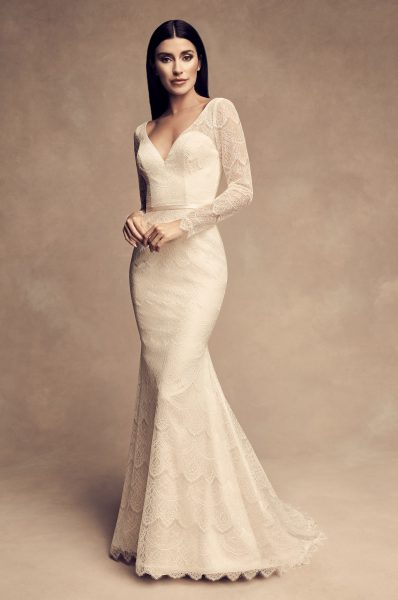 580b9552aee4 Long Sleeve Chantilly Lace Fit And Flare Wedding Dress by Paloma Blanca -  Image 1