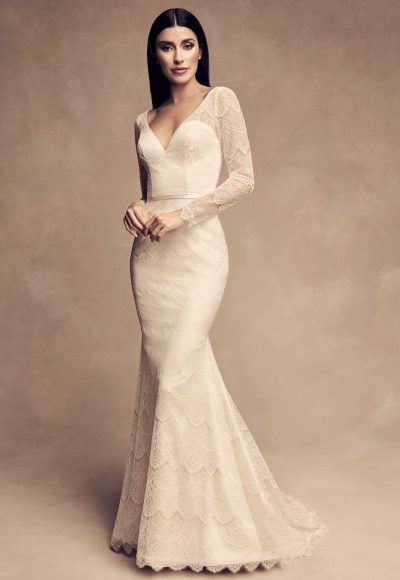 Long Sleeve Chantilly Lace Fit And Flare Wedding Dress by Paloma Blanca