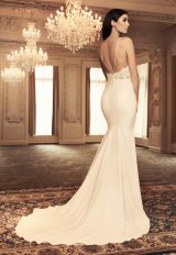 Spaghetti Strap Lace And Crepe Sheath Wedding Dress With Leg Slit by Paloma Blanca - Image 2