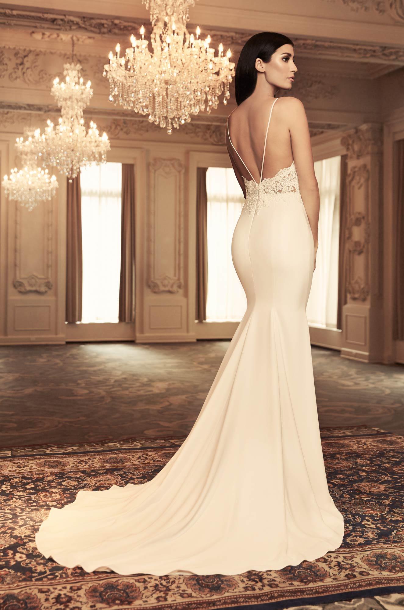 Spaghetti Strap Lace And Crepe Sheath Wedding Dress With Leg Slit