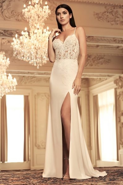 Spaghetti Strap Lace And Crepe Sheath Wedding Dress With Leg Slit by Paloma Blanca - Image 1