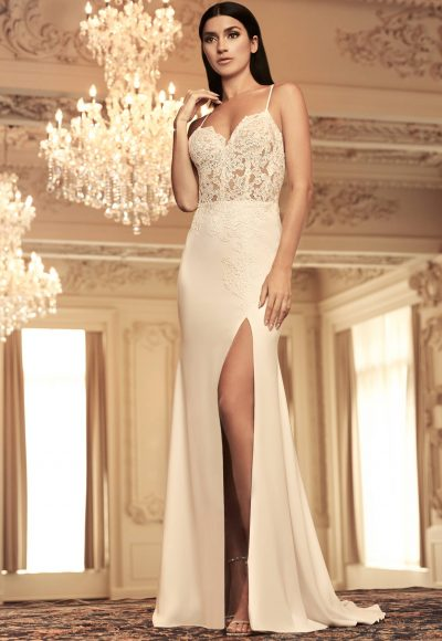 Spaghetti Strap Lace And Crepe Sheath Wedding Dress With Leg Slit by Paloma Blanca