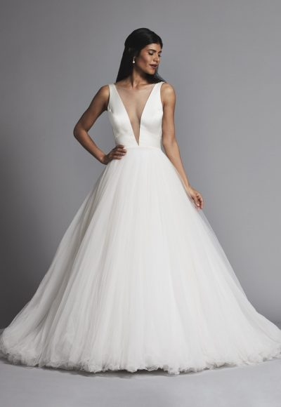 Classic And Romantic Satin And Tulle Ball Gown Wedding Dress by Pnina Tornai