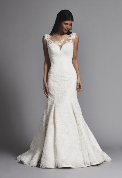 Classic Illusion Bateau Lace Fit And Flare Wedding Dress by Pnina Tornai