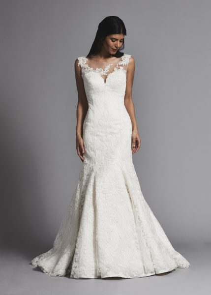 Classic Illusion Bateau Lace Fit And Flare Wedding Dress by Pnina Tornai - Image 1