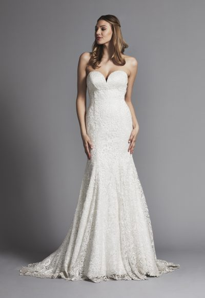 Classic Sweetheart Glitter Lace Fit And Flare Wedding Dress by Pnina Tornai