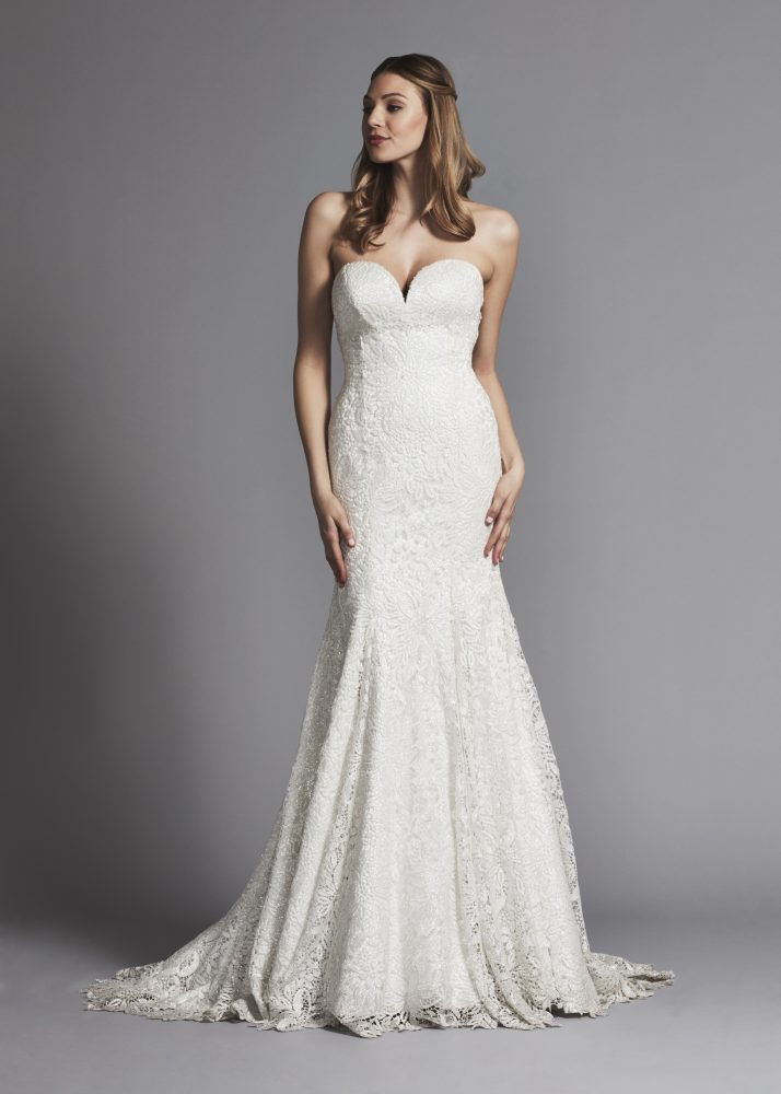 Classic Sweetheart Glitter Lace Fit And Flare Wedding Dress by Pnina Tornai - Image 1