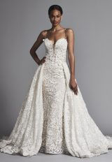 Couture And Sexy Lace Sheath Wedding Dress With Dramatic Overskirt by Pnina Tornai - Image 1