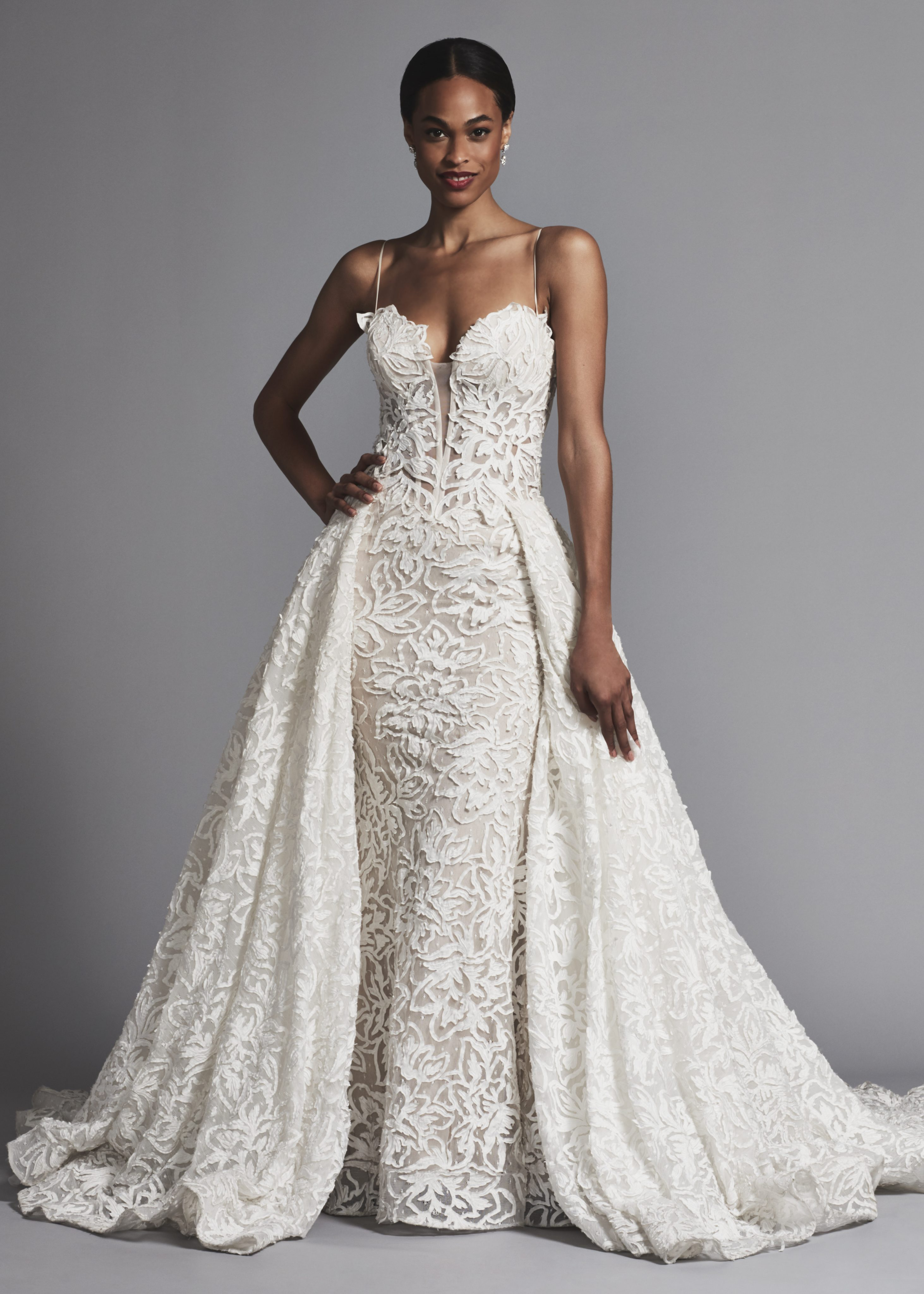 couture and sexy lace sheath wedding dress with dramatic overskirt kleinfeld bridal