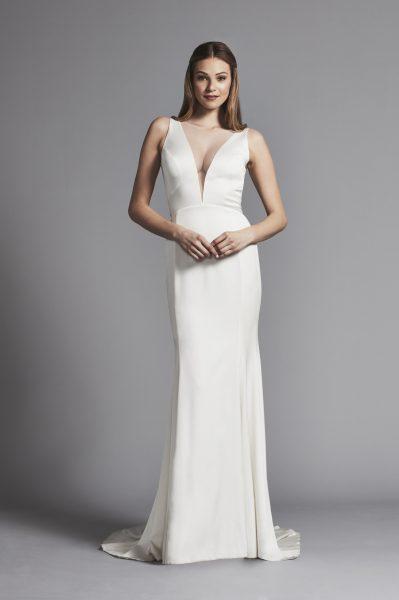 Deep V-neck Sleek Sheath Sleeveless Wedding Dress | Kleinfeld Bridal