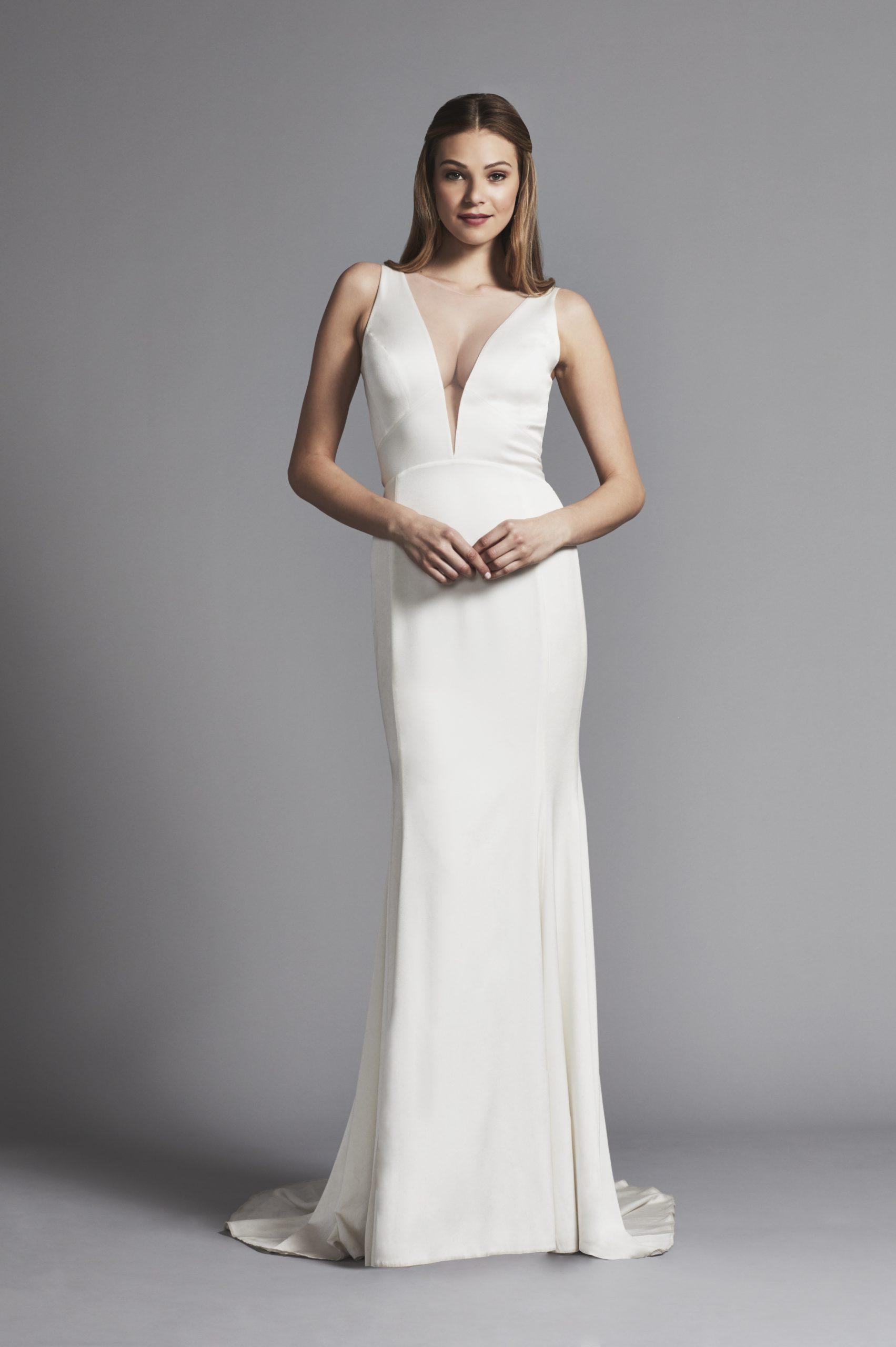 Deep V Neck Sleek Sheath Sleeveless Wedding Dress Kleinfeld Bridal