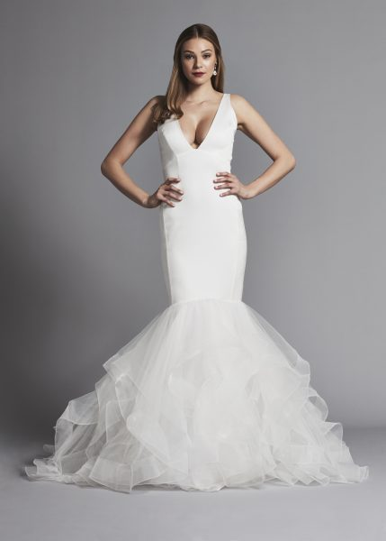 Dramatic Satin And Ruffle Mermaid Wedding Dress by Pnina Tornai - Image 1