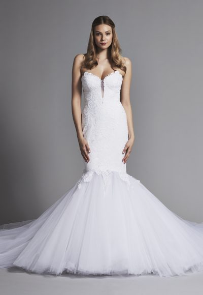 Dramatic Strapless Lace Mermaid Wedding Dress by Pnina Tornai