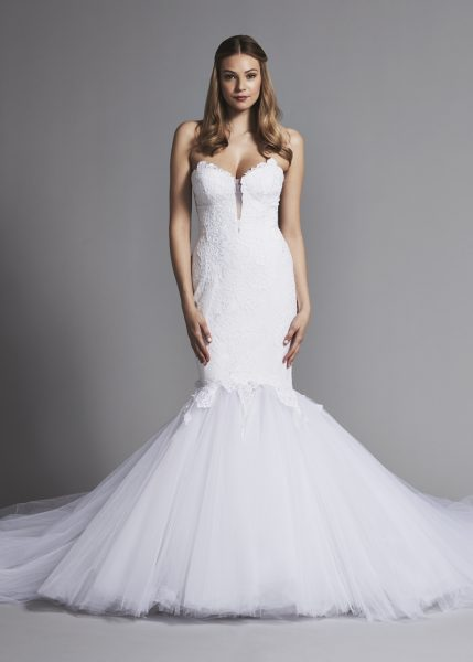 Dramatic Strapless Lace Mermaid Wedding Dress by Pnina Tornai - Image 1