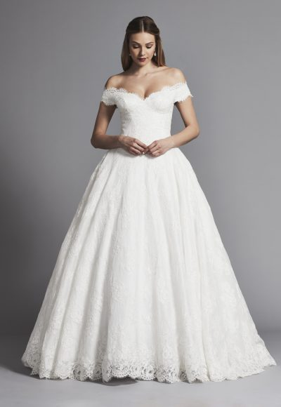 Off The Shoulder Lace Ball Gown Wedding Dress by Pnina Tornai