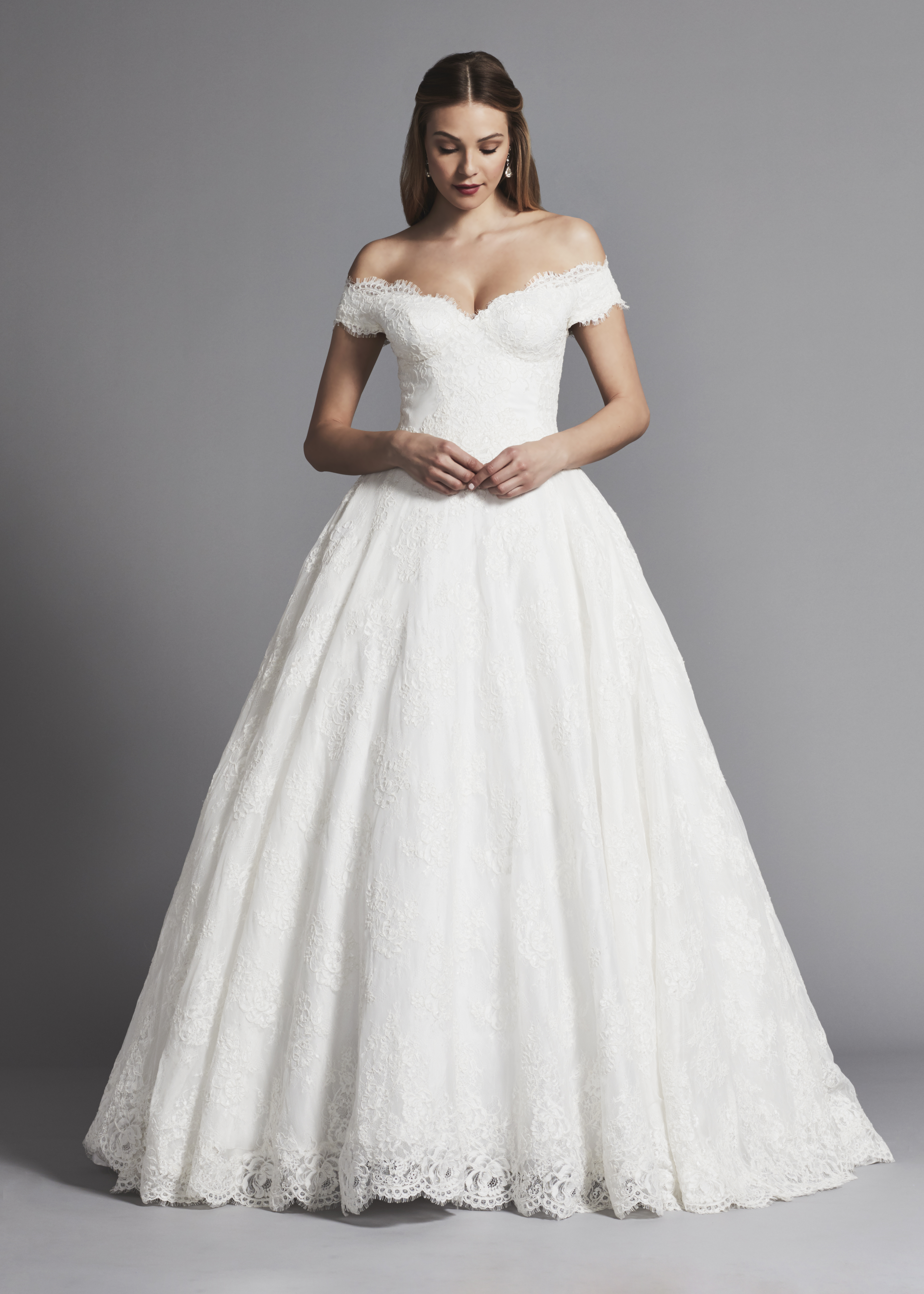 Off The Shoulder Lace Ball Gown Wedding Dress | Kleinfeld Bridal