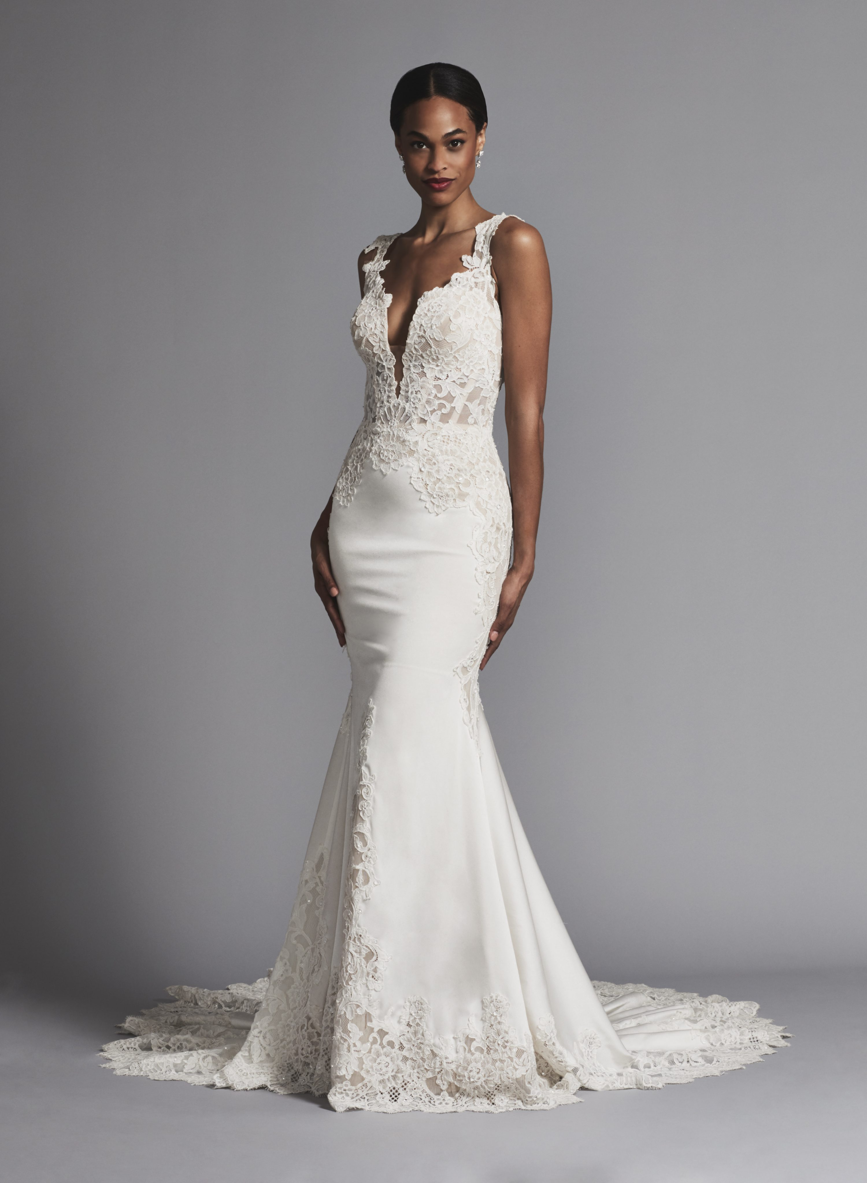 Plunging Neckline Lace And Silk Fit And Flare Wedding Dress ...