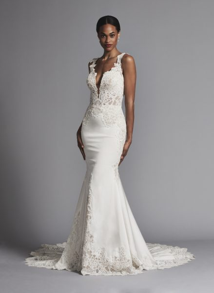 Plunging Neckline Lace And Silk Fit And Flare Wedding Dress by Pnina Tornai - Image 1
