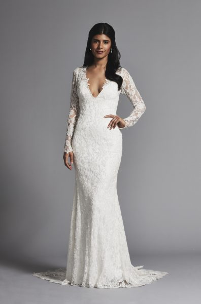 Romantic V-neck Lace Long Sleeve Sheath Wedding Dress | Kleinfeld Bridal
