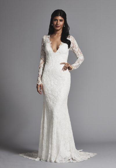 Romantic V-neck Lace Long Sleeve Sheath Wedding Dress by Pnina Tornai