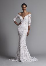 Sexy Off-the-shoulder All Lace 3/4 Sleeve Sheath Wedding Dress by Pnina Tornai - Image 1