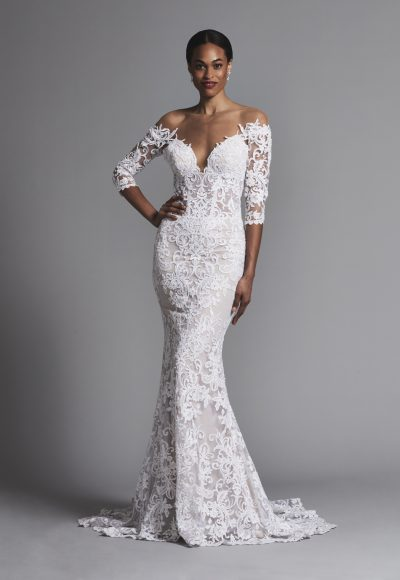 Sexy Off-the-shoulder All Lace 3/4 Sleeve Sheath Wedding Dress by Pnina Tornai