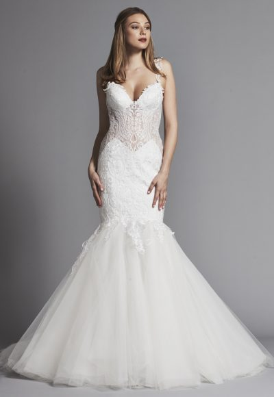 Sexy Sleeveless Lace Mermaid Wedding Dress With Sheer Bodice by Pnina Tornai