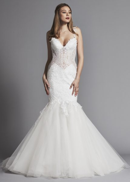 Y Sleeveless Lace Mermaid Wedding Dress With Sheer Bodice By Pnina Tornai Image 1