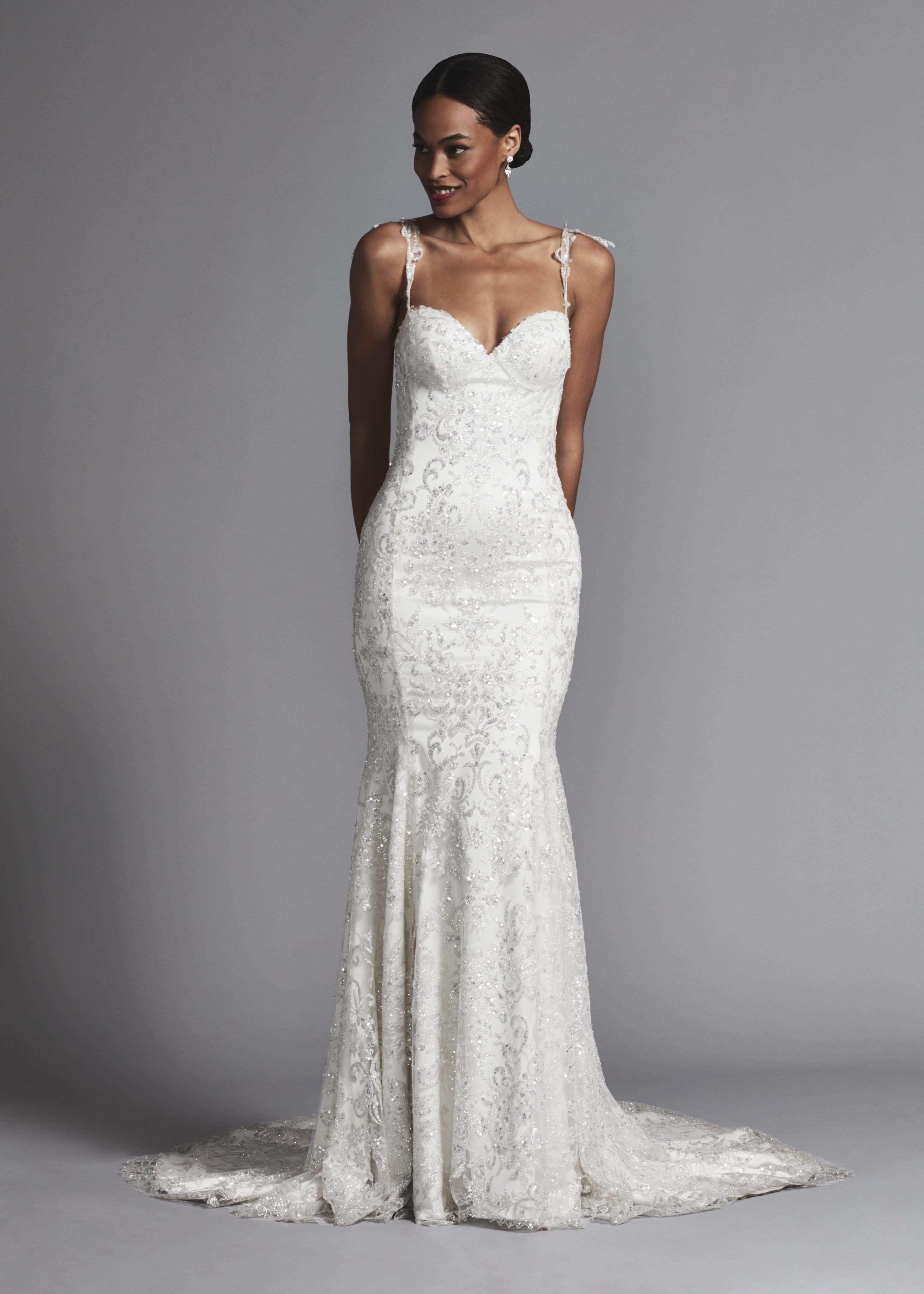 2df39afe Y Spaghetti Strap Glitter Fit And Flare Wedding Dress Kleinfeld