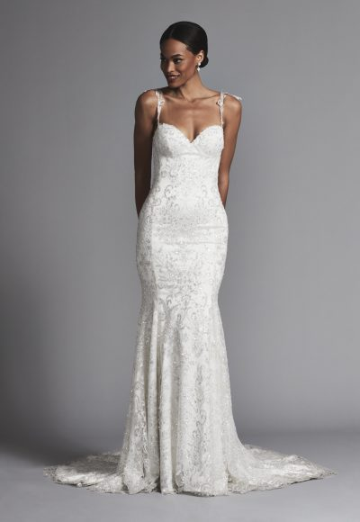Sexy Spaghetti Strap Glitter Fit And Flare Wedding Dress by Pnina Tornai