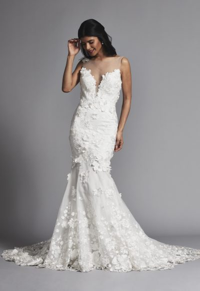 Sleeveless Illusion Sweetheart Fit And Flare Wedding Dress by Pnina Tornai