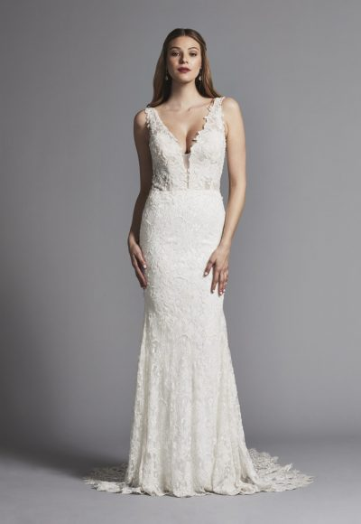 Sleeveless Lace Sheath Wedding Dress by Pnina Tornai
