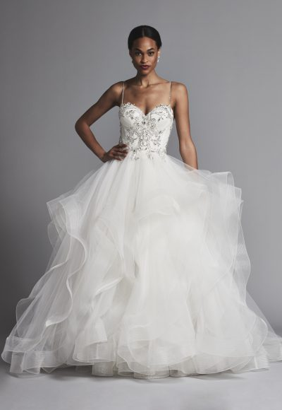 Spaghetti Strap Beaded Bodice Ball Gown Wedding Dress by Pnina Tornai