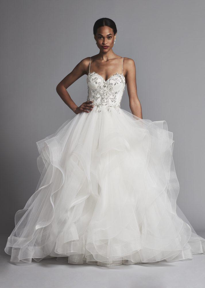 Spaghetti Strap Beaded Bodice Ball Gown Wedding Dress by Pnina Tornai - Image 1