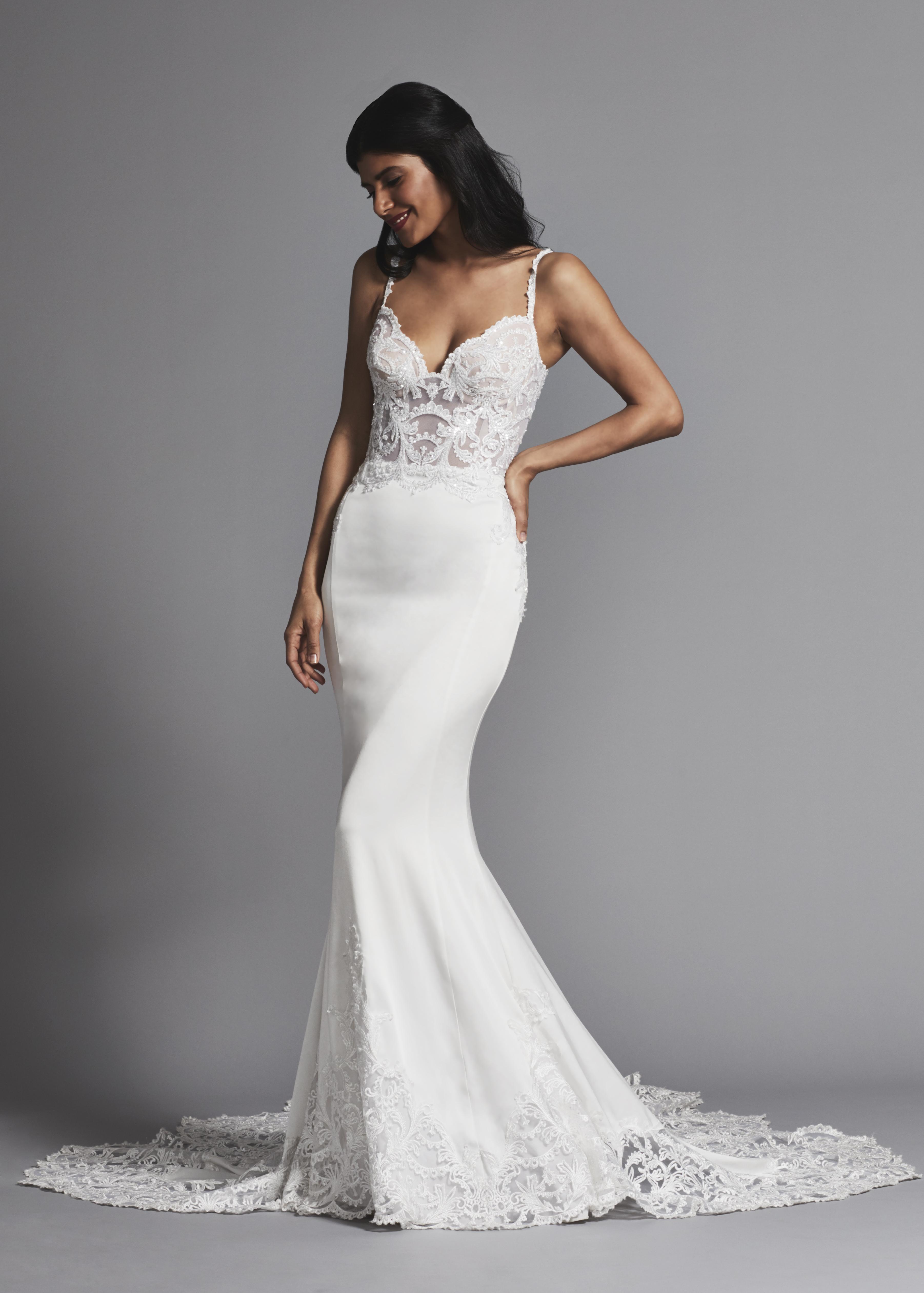 Spaghetti Strap Beaded Sheer Bodice Sheath Wedding Dress | Kleinfeld ...