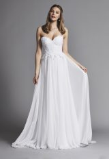 Strapless Lace Bodice A-line Wedding Dress by Pnina Tornai - Image 1