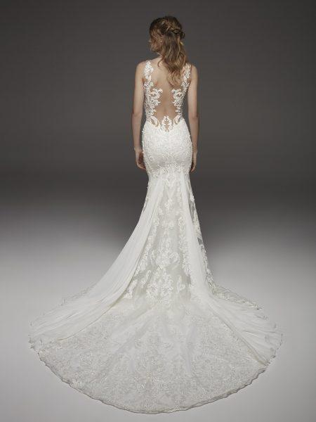 Detailed V-neck Neckline Floral Applique Fit And Flare Wedding Dress by Pronovias - Image 2