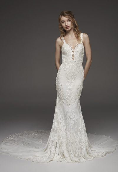 Detailed V-neck Neckline Floral Applique Fit And Flare Wedding Dress by Pronovias
