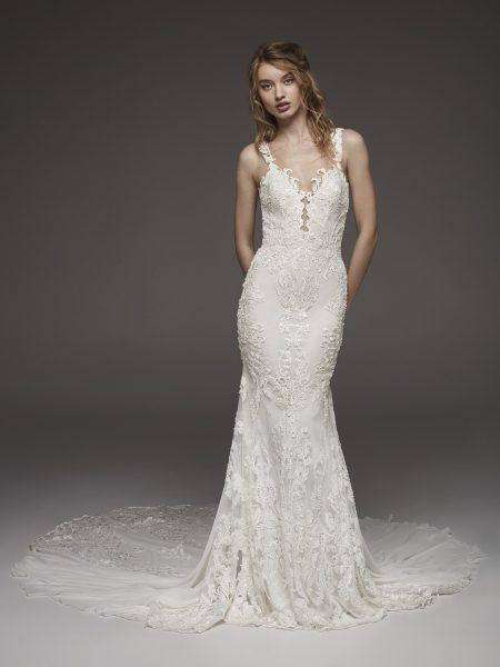 Detailed V-neck Neckline Floral Applique Fit And Flare Wedding Dress by Pronovias - Image 1