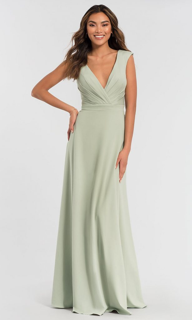 LONG KLEINFELD BRIDESMAID DRESS WITH RUCHED BODICE Kleinfeld Bridal Party