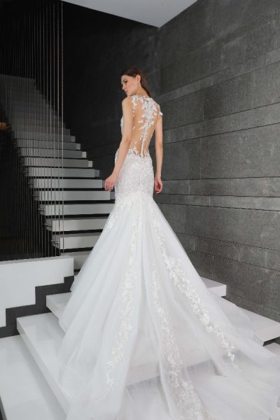 Beaded Floral Appliques Fit And Flare Wedding Dress by Tony Ward - Image 2