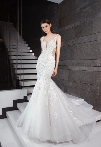 Beaded Floral Appliques Fit And Flare Wedding Dress by Tony Ward