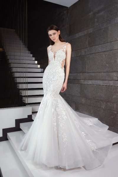 Beaded Floral Appliques Fit And Flare Wedding Dress by Tony Ward - Image 1