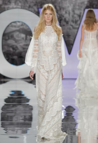 Long Sleeve Sheath Sheer Wedding Dress With Cold Shoulder And Embroidery Detailing by Yolan Cris