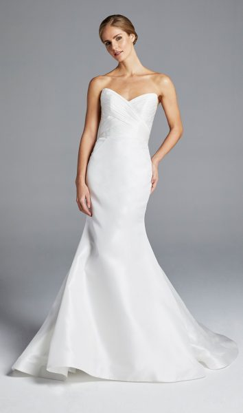 Sweetheart Neckline Ruched Bodice Wedding Dress by Anne Barge - Image 1