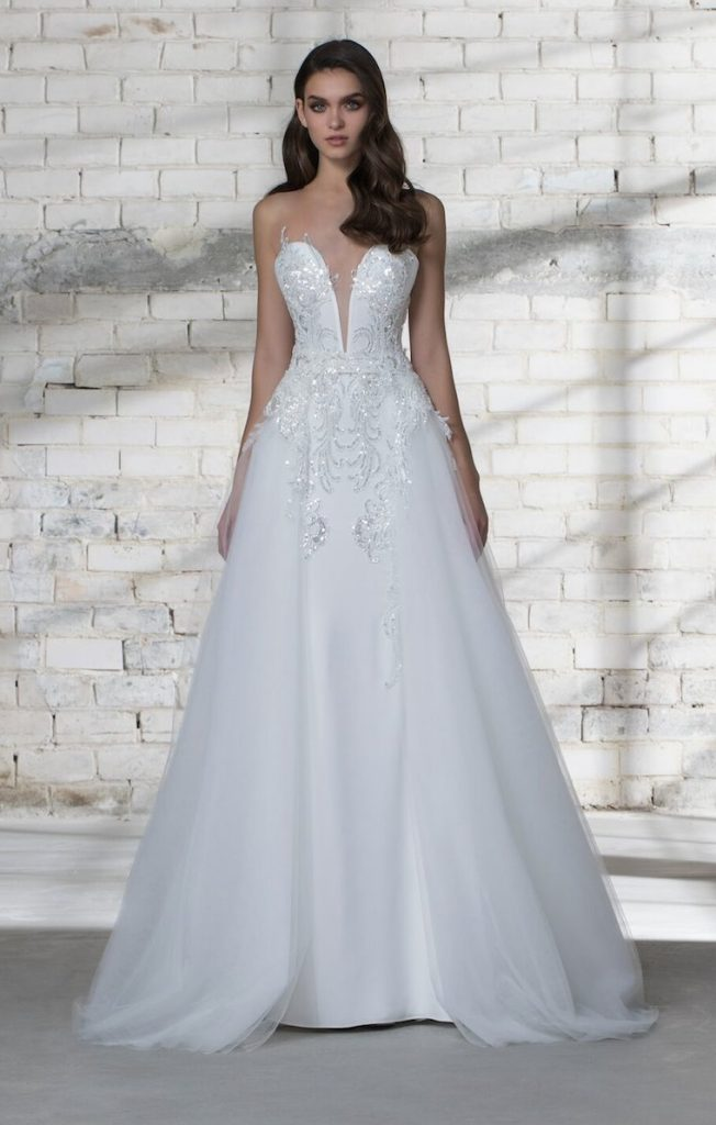 Love by Pnina Tornai Style #14688 PLUNGING NECKLINE SEQUIN DETAILED SHEATH WEDDING DRESS