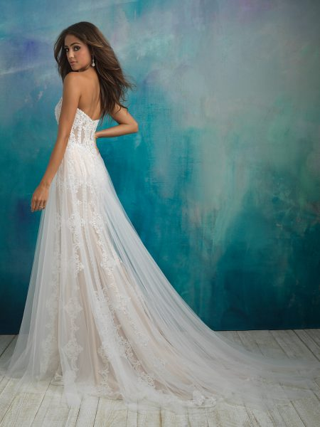 Strapless Sweetheart Neckline Beaded And Embroidered Sheath Wedding Dress With Attached Tulle Overskirt by Allure Bridals - Image 2